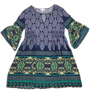 Umgee Bohemian Tunic Hippie Boho Blouse Dress